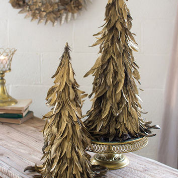 Set of 2 Gold Feather Topiaries