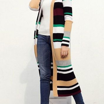 Chic Color Block Striped Open Front Long Cardigan