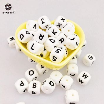 Let's Make Baby Teether Alphabet Letters 200pcs  Food Grade Silicone BPA Free DIY Teething Necklace In 26 Letters Chewable Beads