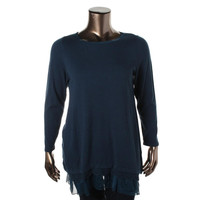 Style & Co. Womens Plus Knit Crepe Trim Pullover Top