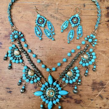 Chan Luu Statement Necklace in Turquoise & Sterling Silver Matching Ea