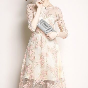 Pink Flower Embroidered Lace Dress