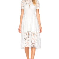 Lover Harmony Pleat Midi Dress in White