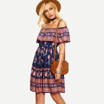 Fashion Flower Print Frills Off Shoulder Beach Mini Dress