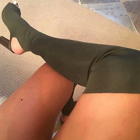 Sierra Leone Yeezy Inspired Peep Toe Thigh High Sock Boots