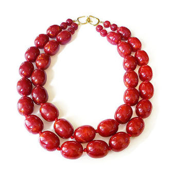 Les Bernard Necklace, Red Lucite Beads, Bakelite Style, Chunky Wide, Statement Necklace, Vintage Jewelry