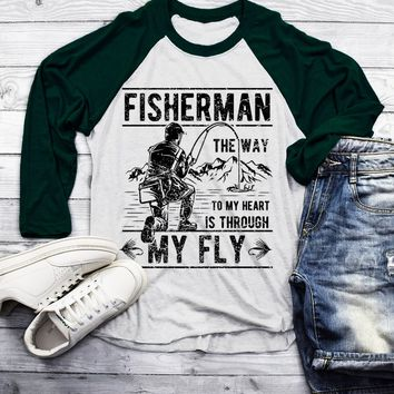 Men's Funny Fishing T-Shirt Way to Heart Through Fly Vintage 3/4 Sleeve Raglan