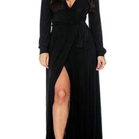 Black Long Sleeve V-Neck Slit Maxi Dress with Sash