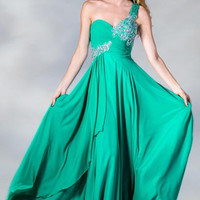 PRIMA C13873 One Shoulder Chiffon Goddess Prom Dress