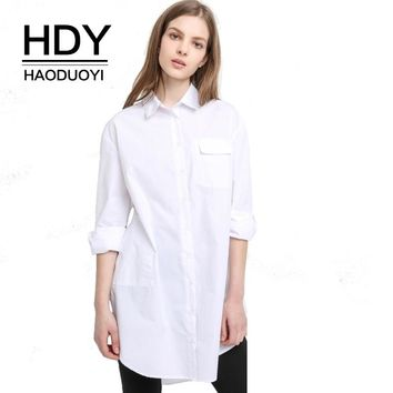 Women Boyfriend Style Dress Ladies White Dress Single Button High Low Shirt Dress Long Sleeve Casual Top