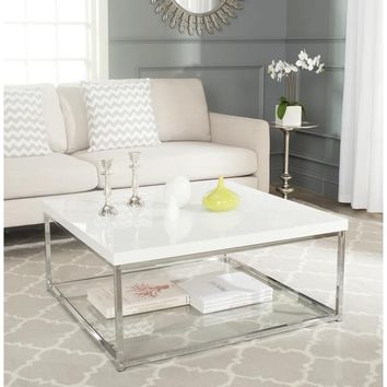 Safavieh Malone White/ Chrome Coffee Table | Overstock.com Shopping - The Best Deals on Coffee, Sofa & End Tables