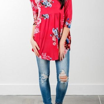 Red Floral Irregular Draped Round Neck Casual Blouse