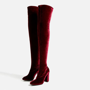 VELVET OVER THE KNEE HIGH HEEL BOOTS DETAILS