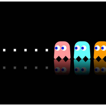 Pac-Man and Ghosts Video Game Poster 11x17