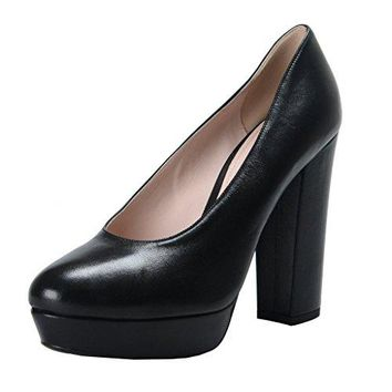 Miu Miu Women's Black Leather High Heel Platform Pumps Shoes