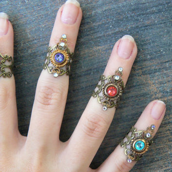 Steampunk midi ring,ONE,armor ring, knuckle ring, nail ring, claw ring