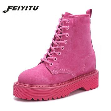 feiyitu Fashion Pink Ankle Boots For Women Wedge Martin Boots Increasing Platform Female Shoes 2018 Punk Style Suede Leather