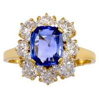 Bulgari Cushion Sapphire and Diamond Gold Ring