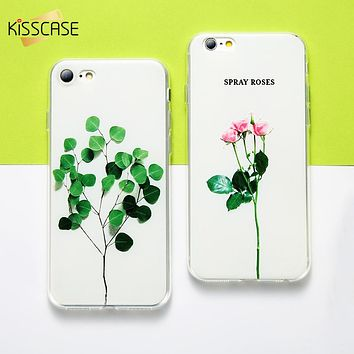 KISSCASE 3D Case For iPhone 6 7 8 plus Case Relief Leaf Cute Plant Flower Phone Cases For iPhone 5S 5 SE Coque For iPhone X Case