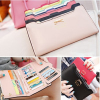 Korean Cute Style Lady Sweet Bow Multi- Card Handbag Long Wallet Card Wallet