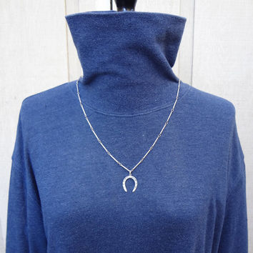 Vintage Sterling Silver Neckace With Sterling Horseshoe Pendant Adjustable Light Patina