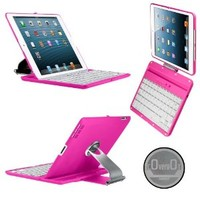 CoverBot iPad Keyboard Case Station HOT PINK Bluetooth Keyboard For iPad 4, iPad 3 and iPad 2 with IOS Commands. Folio Style Cover with 360 Degree Rotating Viewing Stand Feature