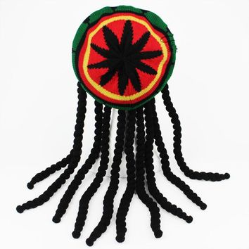 Unisex Novelty Knitted Wig Braid Hat Male Jamaican Bob Marley Rasta Beanie Multicolor Headwear Tassel Hair Accessories Beret Cap