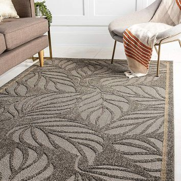 7173 Gray Outdoor-Indoor Carved Area Rugs