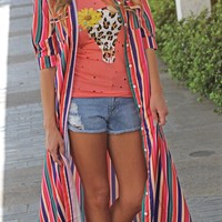 Wishful In Wyoming Maxi Duster - Red
