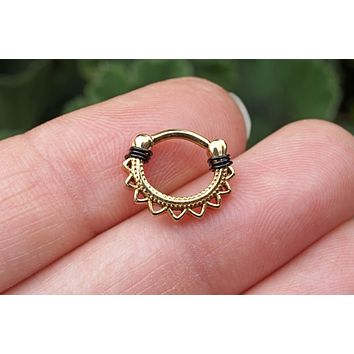 Lotus Mandala Gold Daith Hoop Ring Rook Hoop Cartilage Helix