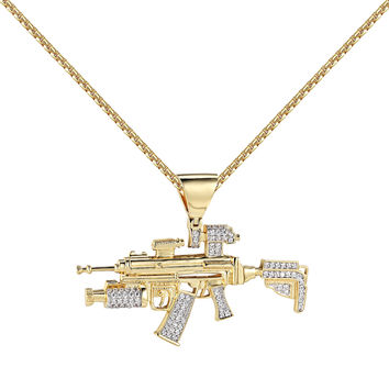 Designer Machine Gun Sniper Pendant 14k Gold Finish Lab Diamonds Free Necklace Men