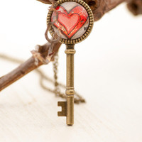 Heart Key Pendant, Gift for Friend, for Women, Love Gift, Love Key Photo Pendant Charm Necklace, Gift for Her, Boho Chic  Red Heart Pendant