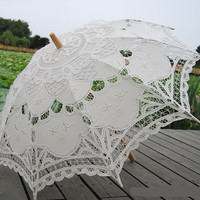 Ivory Old Fashion  Battenburg Lace Umbrella Wedding  Parasol for Bridal vintage lace parasol for Bridesmaid,Wedding gift