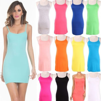 Women Camisole Spaghetti Strap Long Tank Top Layering Mini Wrap Dress Summer [9221774276]