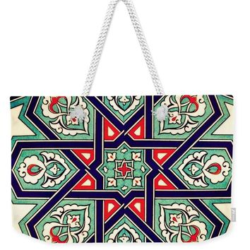 An Ottoman Iznik Style Floral Design Pottery Polychrome, By Adam Asar, No 35a - Weekender Tote Bag