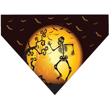 Halloween Over the Collar Dog Bandana - Skeleton Moon