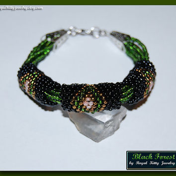 Black Forest, handmade bracelet, beadwork art, beaded bracelet, winter bracelet