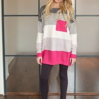 All The Right Flavors Sweater Fuchsia - Modern Vintage Boutique
