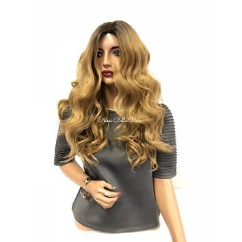 """Blond Ombre Swiss Full UPART Wig 18"""" 