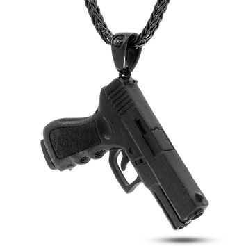 King Ice Black Handgun Necklace