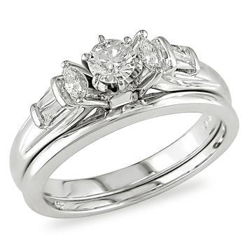 1/2 Carat Diamond Wedding Band & Engagement Ring in 14K White Gold