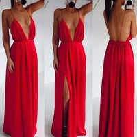 Sexy Red Formal Ball Prom Maxi Cocktail backless strapless Long Gown Dress
