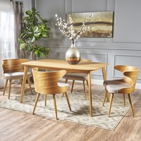 Brianne Mid Century Wood Finished 5 Piece Wood Dining Set with Fabric Chairs