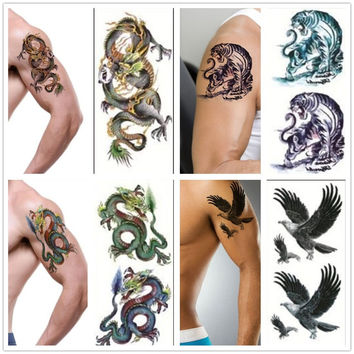 3D New Man's Sleeve Arm Leg Temporary Totem Tattoo Stickers Body Art Tattoos Diy Body painting Car Wall Decals