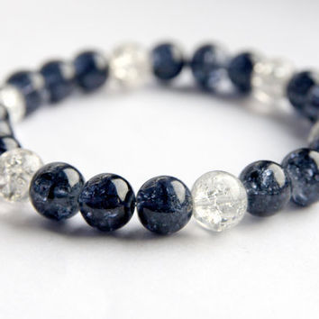 Black bracelet, black and clear crackle glass bracelet
