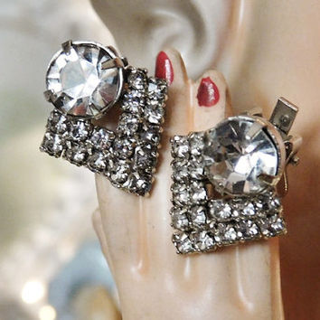 Wedding Bride Bridal Earrings Hollywood Rhinestone Clip On Earrings Prom Dance Formal Mid Century 1950s 50s Art Deco Revival Earrings