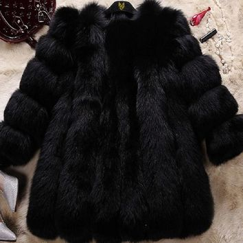 WEIXINBUY Winter Women Brand Fur Coat Elegant Long Faux Fox Fur Coats Furry Luxury Fake Fur Jacket