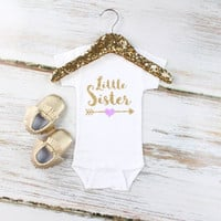 Little Sister Onesuit | Gold 'Little Sister' with Gold Arrow and Purple Heart Onesuit