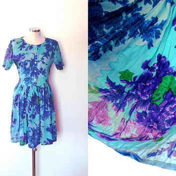 Blue floral print tea dress / dark purple / green / aqua / semi sheer / vintage / short sleeve / midi length / cotton summer dress