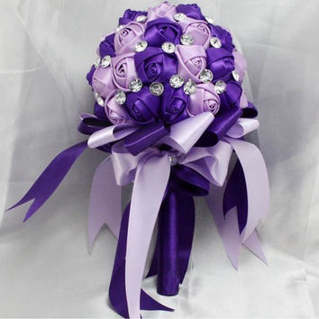handmade Wedding bouquet flower crystal pearl silk Bride Hands Holding Rose Flower Wedding Bridal Bridesmaid Flower